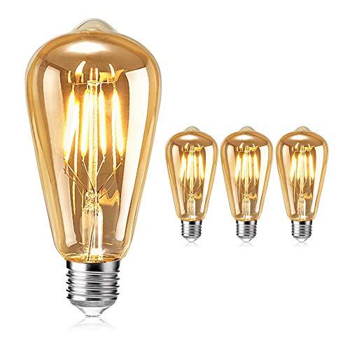 Vintage Edison Glühbirne, otutun Edison LED Lampe E27 4W Warmweiß Retro Glühbirne Squirrel Cage Filament Antike Glühbirne Ideal für Nostalgie und Retro Beleuchtung im Haus Café Bar usw - 3 Stück