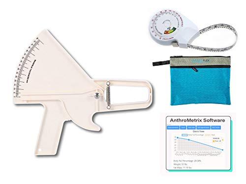 Plicometro Slim Guide Kit AnthroFlex con Cinta Métrica IMC, Bolsa de...