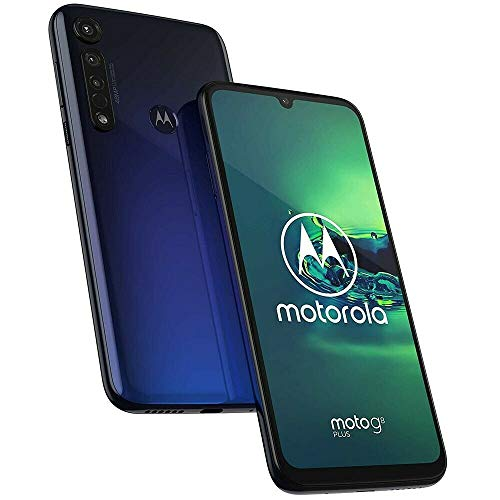 "Motorola Moto G8+ Plus (64GB, 4GB) 6.3"", 48MP Camera, 4000mAh Battery, Dual SIM GSM Unlocked (AT&T, T-Mobile, MetroPCS, Straight Talk) XT2019-2 - International Version (Blue, 64GB SD+ Case Bundle)"