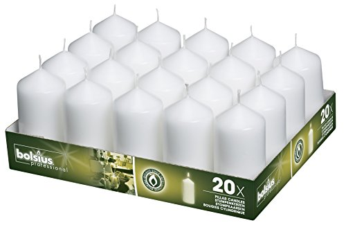 BOLSIUS Set of 20 White Pillar Candles - 2x4 inch Unscented Candle Set - Dripless Clean Burning Smokeless Dinner Candle - Perfect for Wedding Candles, Parties and Special Occasions