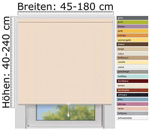 EFIXS zichtwerend rolgordijn middentrek- medium - op maat gemaakt - 24 mm as - vele kleuren Breite bis 100 cm, Höhe bis 190 cm Zalm
