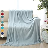 ALPHA HOME Throw Blanket for Couch 50x60 Warm Acrylic Knit Durable Lightweight Bed Blanket Decorative Blanket Tassel with Solid Color Soft All Season Valentine's Day Machine Washable Sky Blue