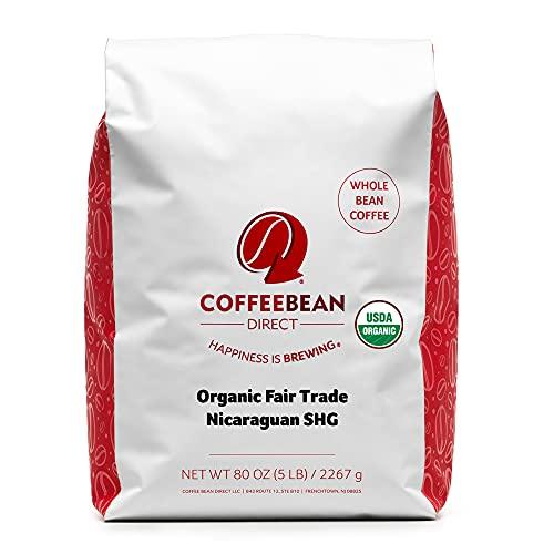 Coffee Bean Direct Organic Fair Trade Nicaraguan SHG, Whole Bean Coffee, 5 Pound Bag