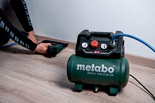 Metabo Kompressor Basic 160-6 W OF (Kessel 6 l, Max. Druck 8 bar, Ansaugleistung 160 l/min, Füllleistung 65 l/min, Max. Drehzahl 3500 /min, kompaktes Design) 601501000 - 4