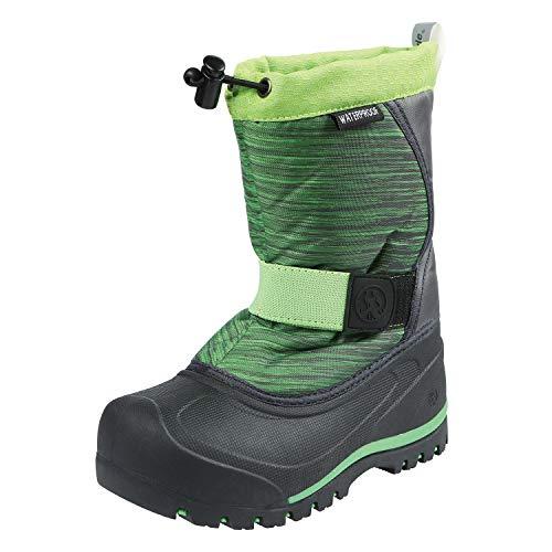 Northside Unisex-Child Zephyr Snow Boot, Dk Gray/Lime, 1 Medium US Little Kid