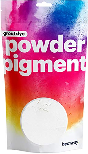 Hemway Grout Dye Pigment Concrete Colour Powder Render Mortar Pointing Powdered Brick Toner (1.8oz / 50g, Metallic Chalk White)