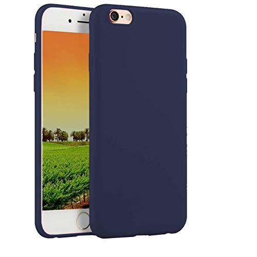 Compatible with iPhone 6 Plus / 6s Plus 5.5-Inch Case, Thin Slim Fit Soft TPU Rubber Bumper Shell Anti-Scratch Resistant Shockproof Protective Mobile Phone Cover for Girls Women Man Boys,Dark Blue