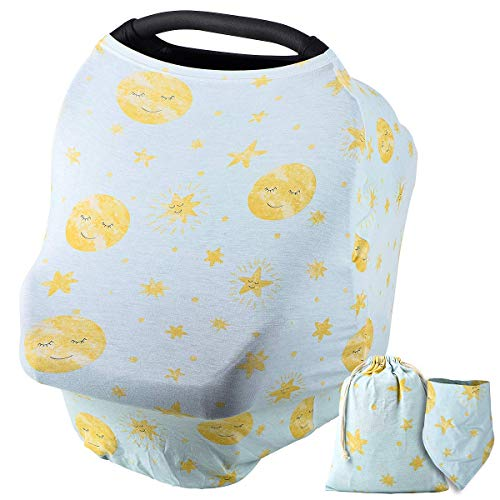 NOZAAM Nursing Covers Baby Car Seat Cover, Car Seat Canopy, Infant Stroller Cover for Baby Girls Boys, Infant Stretchy Cover for Baby Swing, Shopping Cart, Feeding High Chair (Green)