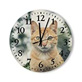 Round Wood Wall Clock Home Decor,Animal Asian cat Vintage Pattern Wood Wall Clock, Battery Operated, no Ticking Sound, for Home, The Kitchen, Living Room, Bedroom, Restaurant or Office, Made in US
