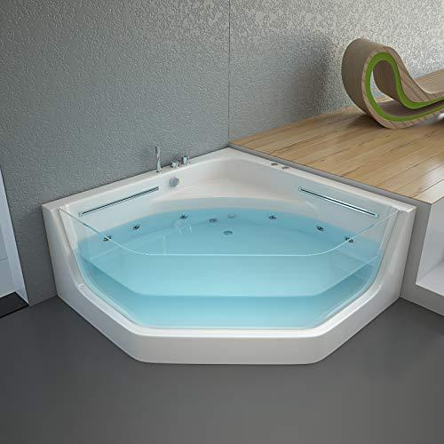 Home Deluxe - Whirlpool Badewanne - Pacifico weiß mit Lichtherapie und Massage - Maße 150 x 150 x 55 cm | Eckwanne, Indoor Jacuzzi, 2 Personen
