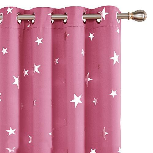 Deconovo Verdunkelungsvorhang Ösen Gardinen Blickdicht Sterne Undurchsichtige Vorhänge 160x132 cm Rosa 2er Set