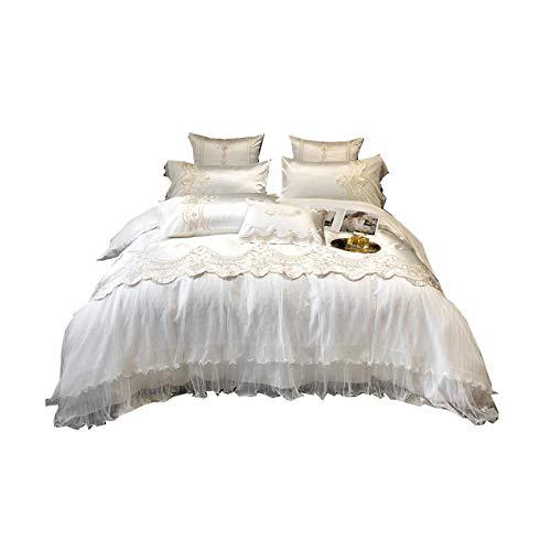 PHGo 4-teiliges Bettwäscheset, luxuriöser und reichhaltiger Seidensatin, seidig weiche Bettwäsche, Leichter Luxus im Prinzessinnenstil im europäischen Stil