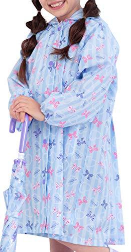 [アリサナ]arisana レインコート キッズ ランドセル対応 女の子 子供 リボン柄 収納ポーチ付き ブルー 130cm
