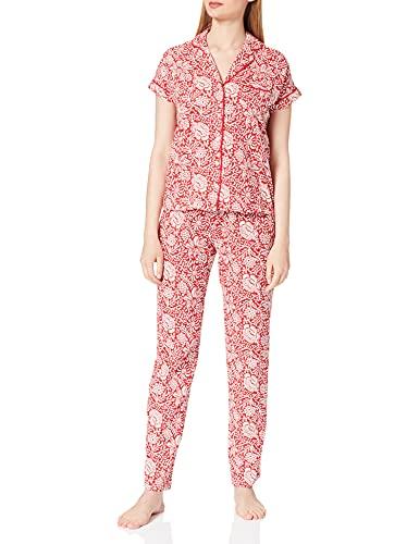 Women' Secret Pijama Camisero Manga Corta algodón orgánico, Granate, XS para Mujer