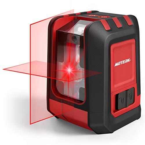 Kreuzlinienlaser, METERK 15M Roter Laser Wasserwaage Selbstnivellierend Linienlaser mit Einstellbare Helligkeit, 360° Umschaltbar, IP54 Staub & Wasserschutz, inkl Magnetfuß/Batterie