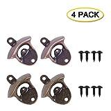 Abrebotellas de hierro fundido de 4 piezas, kit de abridor de botellas con tornillos vintage para bares, hoteles y hogares (4 unidades)