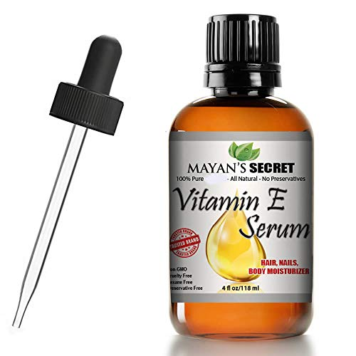 Vitamin E Serum Mayan's Secret 100% Pure Organic All Natural Face, Dry Skin & Body Moisturizer Treatment, Hair & Nail Growth Oil, Pure Makeup Remover, Acne Cleansing Oil Large 4 OZ