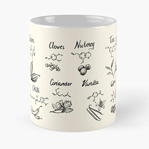 Chemistry Kitchen Science Cooking Baking Compound Food Mollecule I FSGprinty-New and trendy design for White marble ceramic coffee mug