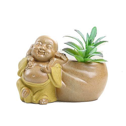 SONGDA Maitreya Buddha Cerámica Suculenta macetas, Adornos Lindos de Escritorio, Oficina, balcón, decoración del jardín,Amarillo