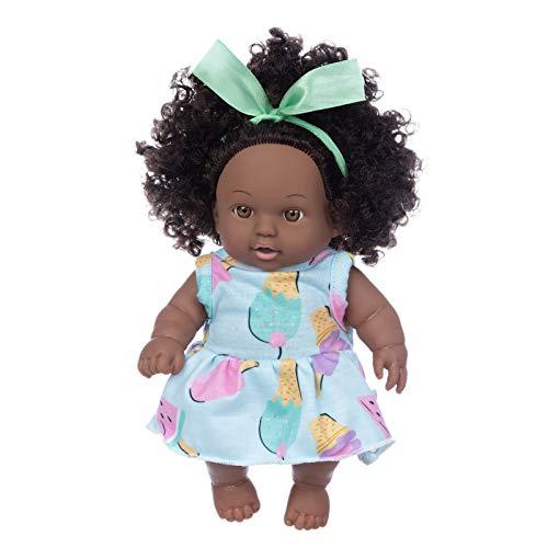 HEnri Baby Spielzeug Doll Schwarzafrikaner Baby Toy Amerikanisches Nettes Lockiges Schwarzes Puppe 8inch Kuscheltierliebhaber Mädchenpuppen Lebensechte Babyspielpuppe für Kinder