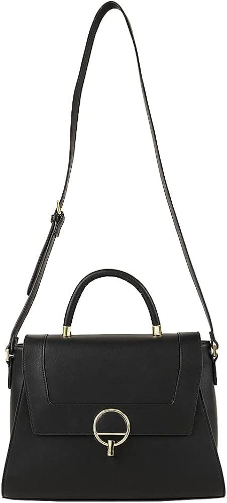 Angel Sky Women Fashion Soft Faux Leather and Canvas Top Handle Bag Crossbody Handbag