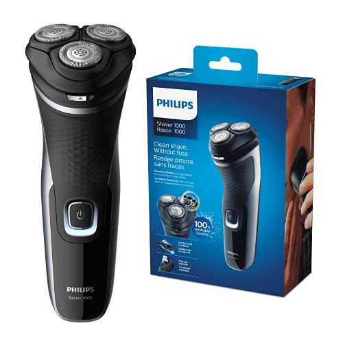 Philips Serie 1000 S1332/41 - Afeitadora Eléctrica Para Hombre Con Cuchillas Powercut, Cortapatillas Desplegable Para Bigote Y Patillas, 45 Min De Afeitado, Con o Sin Cable, Negro