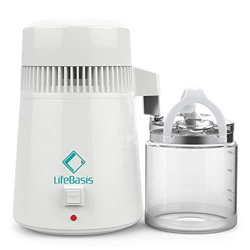 LifeBasis Destilliergerät 4L Wasserdestillierer Wasser Destillertes Wasser Maschine mit Glas Sammelkanne Wasserdestille und EIN tragbaren TDS Wasser Temperatur Messgerät als Geschenk MEHRWEG