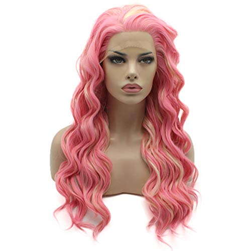 Lushy Synthetic Lace Front Wig Wavy Long Pink Light Blonde Mix Wig Hand Tied Realistic Wig