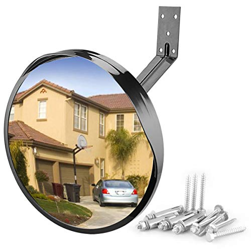 Convex Mirror for Garage and Driveway Park Assistant, 12 inch Adjustable Wide Angle View Curved Security Mirror by Angooni(Support Indoor and Outdoor)