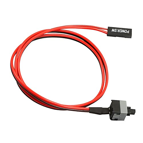 Zhou-YuXiang Interruptor de botón de Encendido/Apagado de 2 Pines SW PC Interruptor de reinicio del Cable Equipo de minería Interruptor de Encendido fácil de Instalar 50CM