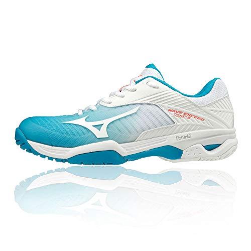 Mizuno Wave Exceed Tour 3 AC, Chaussures de Tennis Femme, Bleu (Blue Jewel/White/Fiery Coral 25), 38 EU