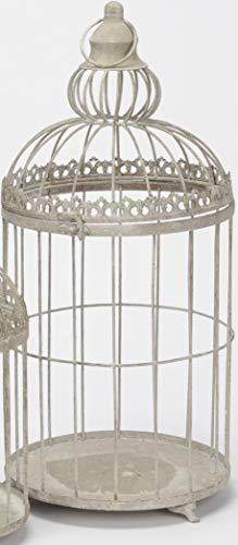 ETC dekorativer Vogelkäfig Metallkäfig Pflanzkäfig Metall grau Vintage als Landhausdeko (groß)