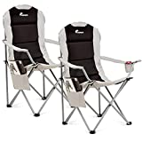 SUNMER Padded Camping Chairs - Set of 2 Deluxe Folding Chairs with Cup Holder and Side Pockets - Holds up to 120kg - Lightweight 3.3kg per Chair - Black & Grey