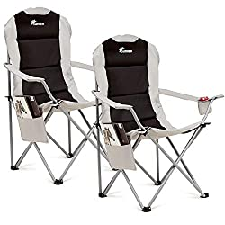 SET OF TWO DELUXE PADDED CAMPING CHAIRS: These SUNMER Deluxe Padded Camping Chairs are the ideal way to soak up the summer sun when the weather gets warmer. Featuring a handy drink holder and magazine pocket, these chairs are ideal for sitting back a...