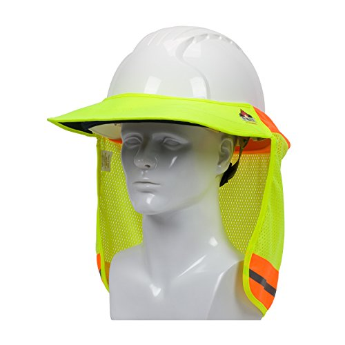 EZ-Cool 396-801FR-YEL FR Treated Hi-Vis Hard Hat Neck Sun Shade Shield Accessories with Visor, Large, Yellow - Fits Both Cap Style & Full Brim Hard Hats
