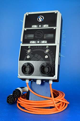 Preisvergleich Produktbild Wallbox 11 kw. -DUO- / 2x 11 kw. FI-Typ B,  Vorsicherung,  Abschliessbar & Zähler