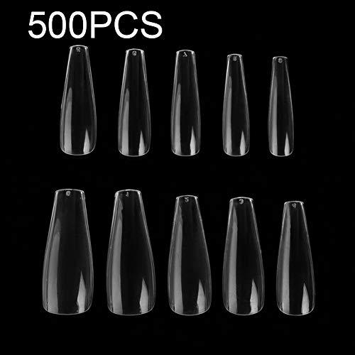 vap26 Lot de 500 faux ongles naturels en forme de cercueil - En acrylique - 10 tailles
