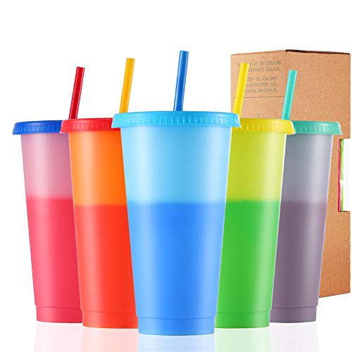 Color Changing Cups, 24oz 5 Reusable Cold Drink Cups with Lids and Straws Summer Coffee Tumblers Party Cup for Adults