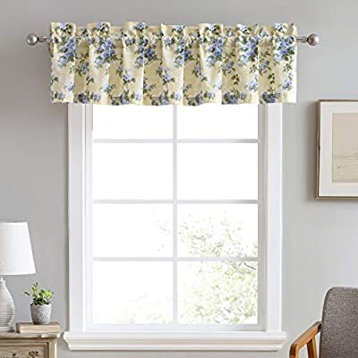 Laura Ashley Home | Cassidy Collection | Stylish Premium Hotel Quality Valance Curtain, Chic Decorative Window Treatment for Home Décor, 86x15, Soft Yellow
