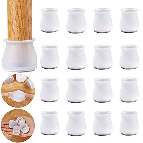 OOYT 16PCS Silicone Chair Leg Caps, Transparent Silicone Chair Leg Floor Protectors with Felt, Free Moving Table Leg Covers, Prevent Scratches Noise (White,B)