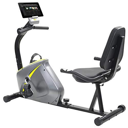 Bicicleta estática magnética con medición de muñecas, bicicleta de fitness aeróbica plegable, bicicleta estática silenciosa con pantalla LED 136 x 56 x 92,5 cm, carga máxima: 100 kg, gris y amarillo