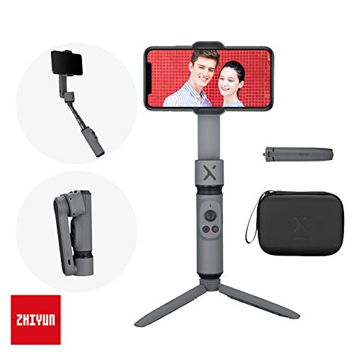 ZHIYUN Smooth X Gimbal Stabilizer for Smartphone, Extendable Selfie Stick Tripod, Foldable Handheld iPhone Gimbal, YouTube Vlog Video, Face Tracking, Bluetooth, Gesture & Zoom [w/Tripod & Case] Gray