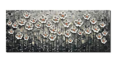 Diathou White Gold Flowers Hand-Painted Oil Painting, Three-Dimensional Wall Art Abstract Art Tree Painting, Modern Art Home Decoration Home Painting for Living Room, Office Corridor from Diathou