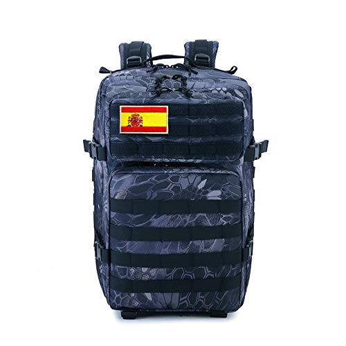 Mochila Tactica Militar Impermeable 40L-45L, Senderismo, Travel, Gran Capacidad Supervivencia Backpack, Mochila De Viaje, Unisex para Excursionismo, Montañismo, Camping, Trekking (Negro 2)