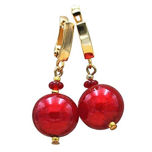 Ball rot–Ohrringe Ohrhänger Schmuck Reichswald Murano Glas von Venedig