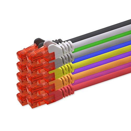 1aTTack.de Netzwerkkabel Cat6 0,25m - 10 Farben CAT.6 Computer Kabel LAN Ethernet Gigabit Cat 6 Netzwerk Patchkabel 1000 Mbit s RJ45 Stecker