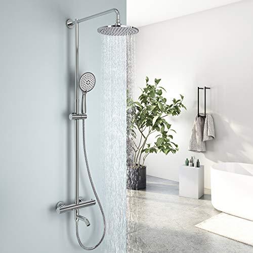EMKE Duschsystem Regendusche mit Thermostat Mischer Wasserhahn, 5 Strahlarten Handbrause und höhenverstellbare Duschsäule Duschset, 23cm Rund Überkopfbrause, chrom