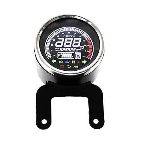 linger 12V Motocicleta Velocímetro LED Indicador Digital Luz Tacómetro Tacómetro Odómetro Aceite Aceite Multifunción Night Vision Dial