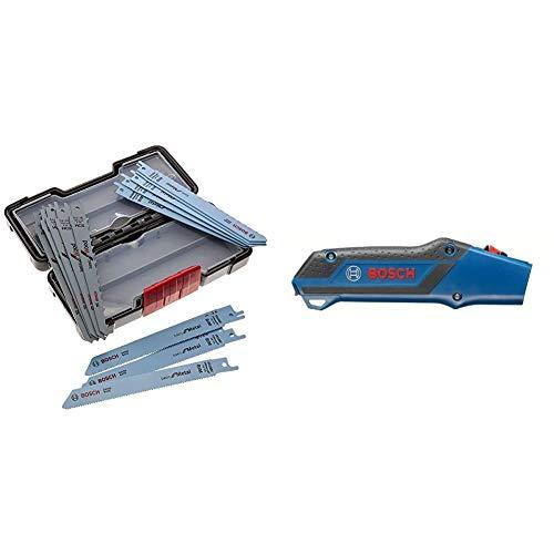Bosch Professional 2607010901 Professional Säbelsägeblatt Set 1 V, schwarz 15 Stück & Sägehandgriff für zwei Säbelsägeblätter Professional, 2608000495