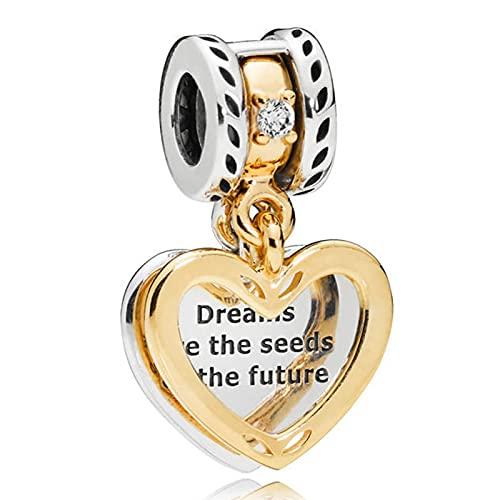 LIIHVYI Pandora Charms para Mujeres Cuentas Plata De Ley 925 Colgante De Corazón Dream Is Love Seed Joyas Adecuadas Regalo Femenino Compatible con Pulseras Europeos Collars